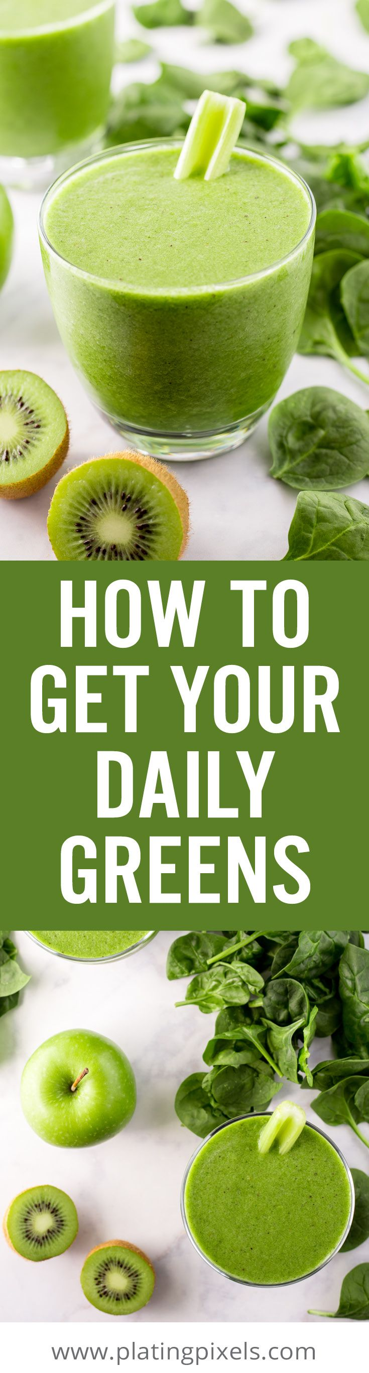 How to Get Your Daily Greens at home, at work or on the go. Learn the health benefits of greens, serving suggestions, what fruits and vegetables to eat, and other tips to make eating greens super easy! Plus a recipe for vegan Super Greens Breakfast Smoothie. - #ad @V8 #V8Mornings www.platingpixels.com