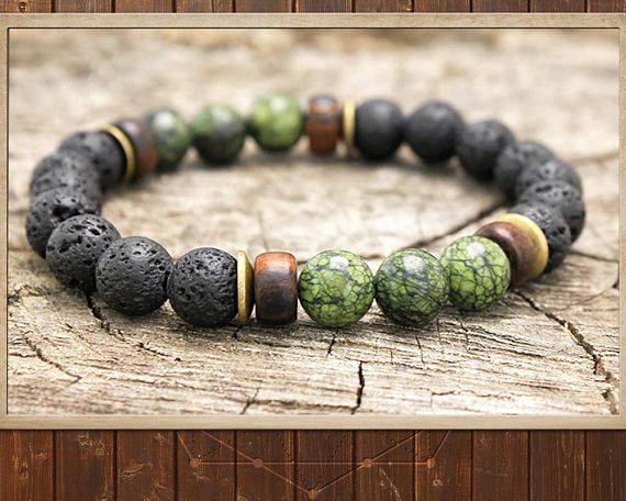 Yoga Handmade Beaded Stretch Bracelet for Men/'s,Woman,Unisex 8mm Natural Black Lava Stone /& Jade Gemstone Beads Mala