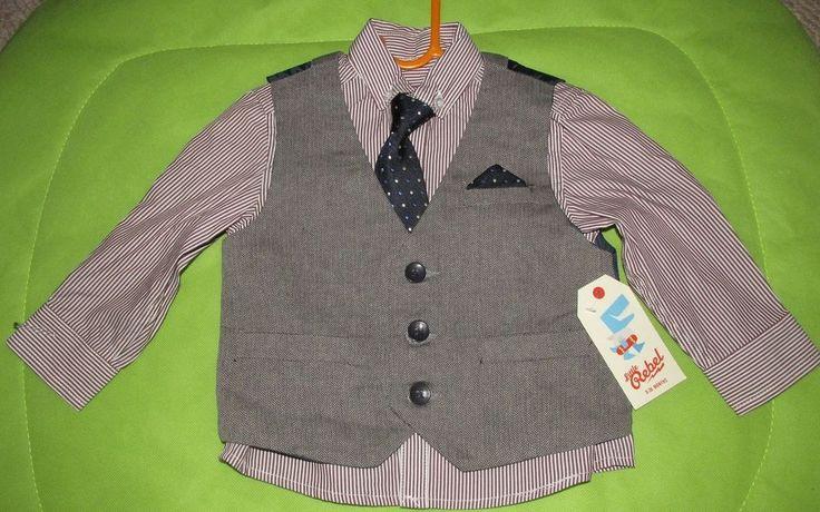 Baby boy 12-18 month shirt tie and waistcoat set Little Rebel #Primark #kidswear #kidsfashion #ebay