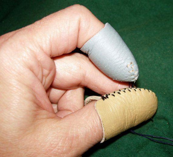 Amazing Handmade Leather Thimbles set of 2 by nsmartist on Etsy
