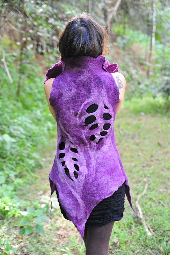 SALE was 175USD  Felt Pixie Leaf Funky Vest by frixiegirl on Etsy, $145.00