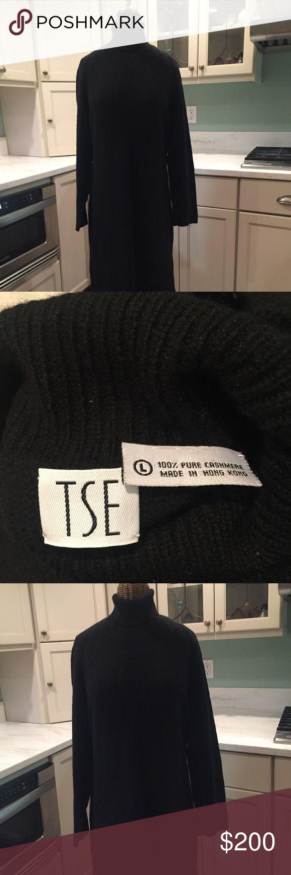Black Turtleneck Cashmere  Dress TSE  Black Turtleneck Cashmere Dress 100% Pure Cashmere Size Large TSE Dresses Long Sleeve