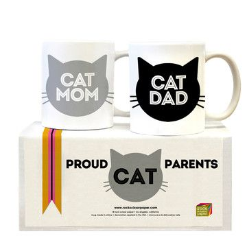 In LA's San Fernando Valley, sisters Heidi and Susie Bauer create cards and gifts that exude old school cool with a contemporary edge. Start your day off right by enjoying a cup of coffee with the one you love. This adorable set of two mugs (Cat Mom & Cat Dad) makes a great gift for newlyweds, crazy cat people, or for you and your sweetheart. Wake up and smell the romance.