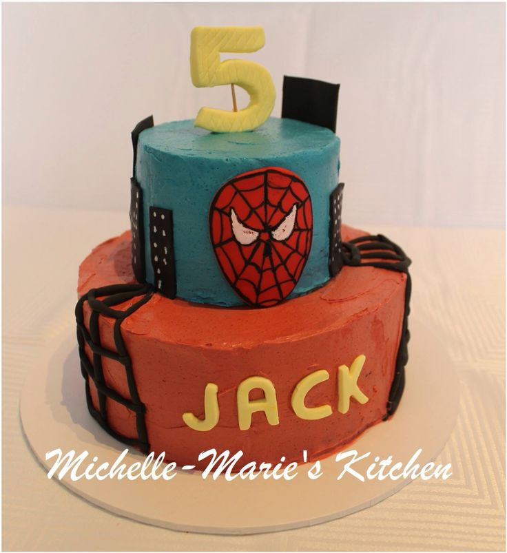 Super hero buttercream with fondant decals cake by Michelle-Marie's Kitchen