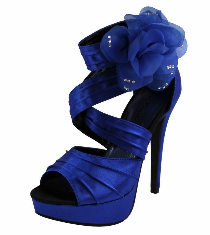 d437ed07f72 New women s shoes evening stilettos satin buckle party wedding prom royal  blue