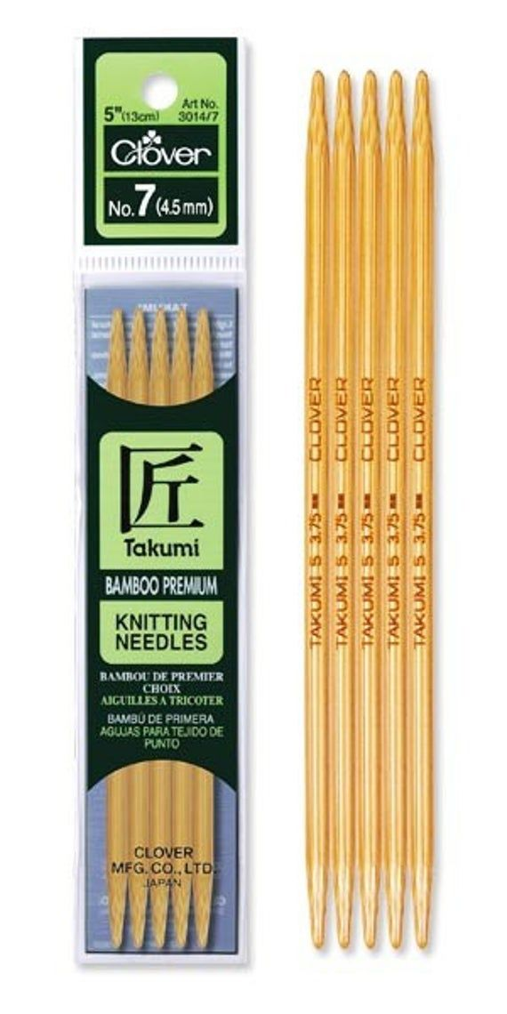 YOU Choose The Size! Clover Takumi Bamboo Double Point Knitting Needles 5/""