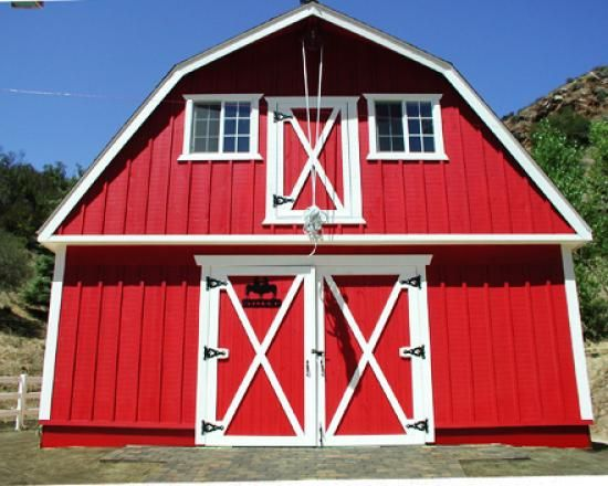 Red gambrel house google search cheyenne barn house for Gambrel barn homes kits