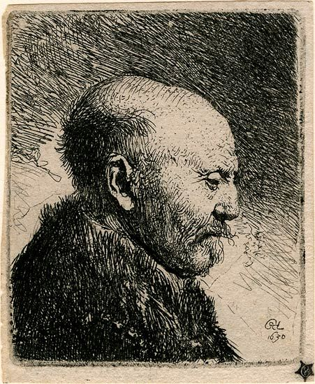 Rembrandt van Rijn, Bald Headed Man in Profile Right, 1630. 69 x 58 mm. The Morgan Library & Museum