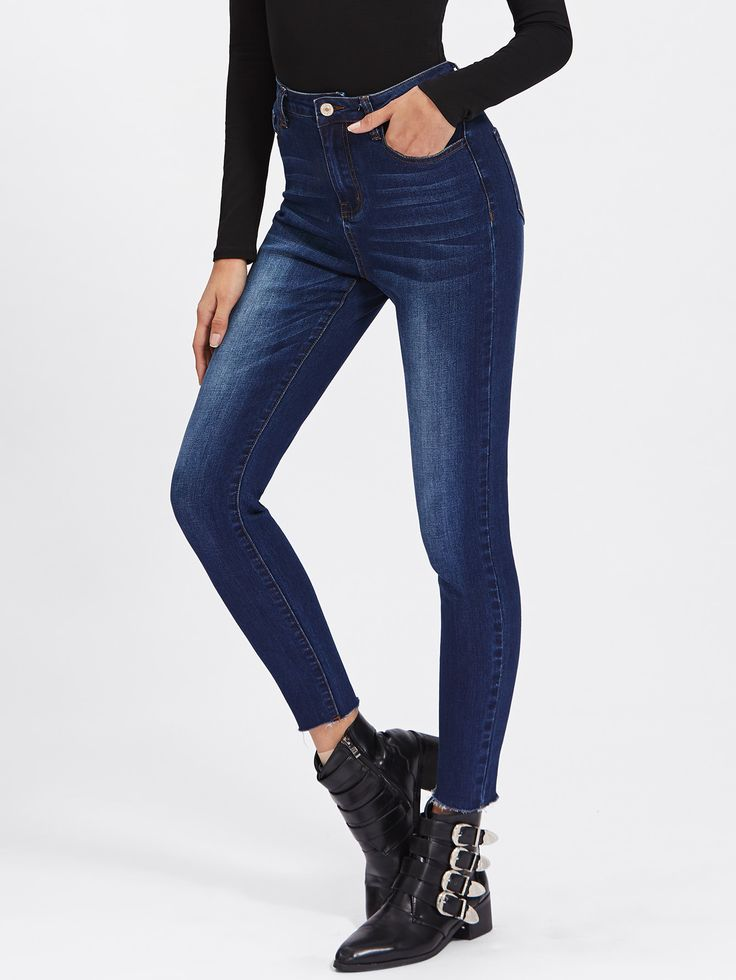 Shop Bleached Wash Raw Hem Skinny Jeans online. SheIn offers Bleached Wash Raw Hem Skinny Jeans & more to fit your fashionable needs.
