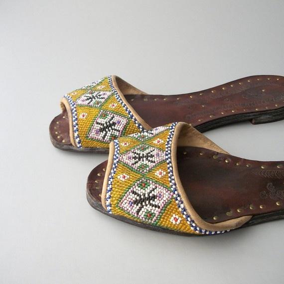Baba Nyonya kasot manek. Glass Beaded Asian Slippers. Leather Tooled with Winged Bugs.