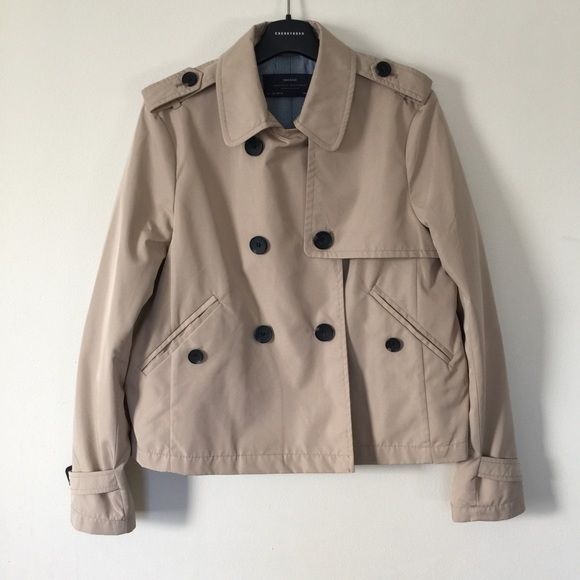 Zara short trench coat Never worn. I just like cut off tags every time I got a new dress  I really never worn it. It is a nice coat but just not my style, I am still student-like. Can fits S to XS. Zara Jackets & Coats Trench Coats