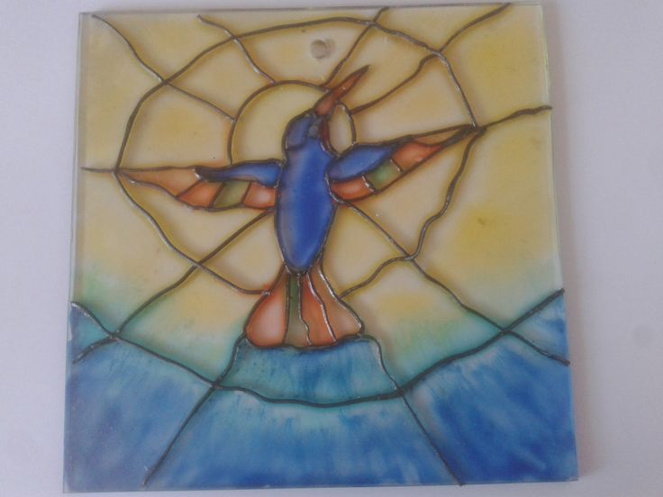 humming bird in stainglass