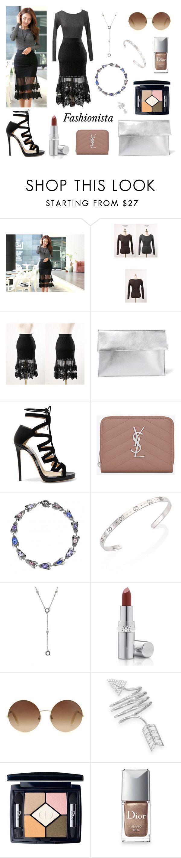Styleonme_See-through Lace Flounced Skirt by styleonme-kr on Polyvore featuring Jimmy Choo, Marni, Yves Saint Laurent, Gucci, BillyTheTree, Tiffany & Co., Victoria Beckham, Christian Dior, La Prairie and modern