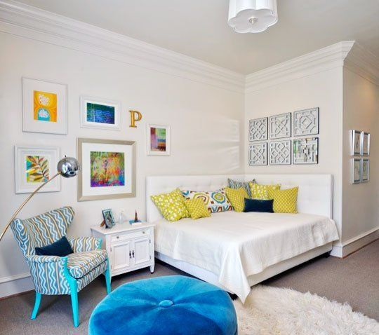 Here's a daybed configuration we haven't seen before - two headboards used to make this queen size bed in a teen room a comfortable daybed for lounging and hanging out with friends.