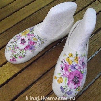 """тапочки валяные """"Первые цветы"""" - домашние тапочки,валяные тапочки,тапочки"""