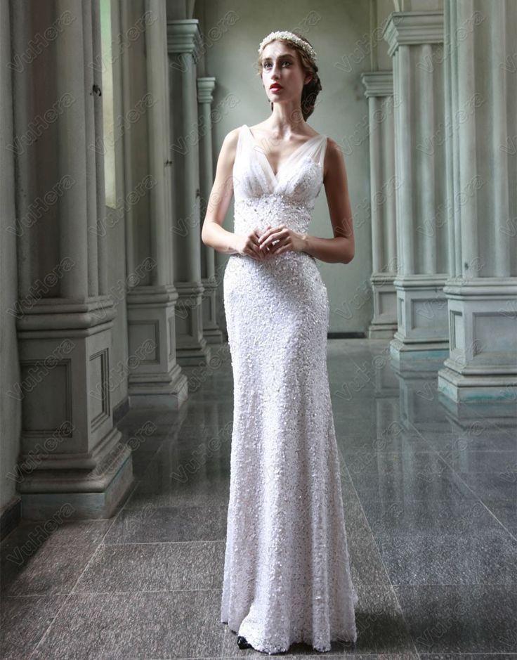 V-neck Bodice Full Length White Prom Dress
