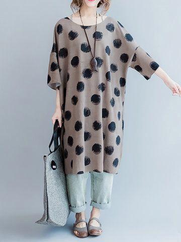 ffb30c379801c Hot saleBrief Loose Polka Dot Half Sleeve O Neck Women Dresses Cheap -  NewChic Mobile.  WomenSFashionDressesWholesale