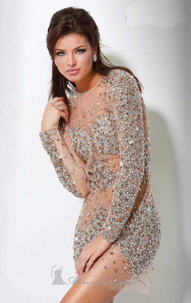 Custom Made Plus Size Cocktail Dress Long Sleeve Sequine Crystal Party Dresses Short Prom Dresses New Fahion 2013 $180.00