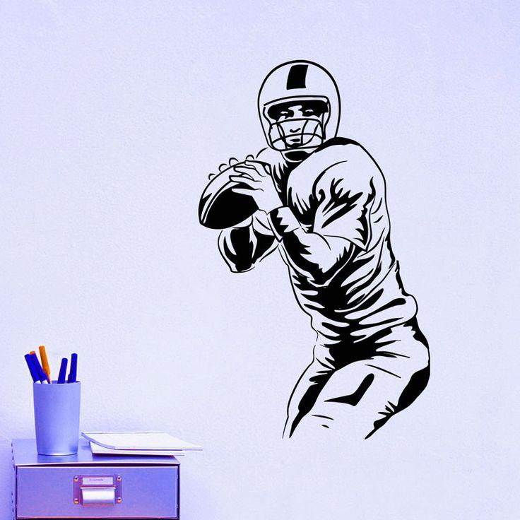 Регби игроки наклейки домашнего декора поделки съемный водонепроницаемый виниловые наклейки на стены спортивные фрески