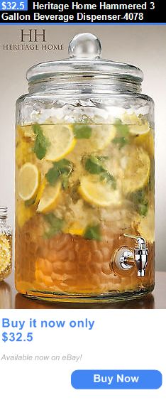 Food And Drink: Heritage Home Hammered 3 Gallon Beverage Dispenser-4078 BUY IT NOW ONLY: $32.5