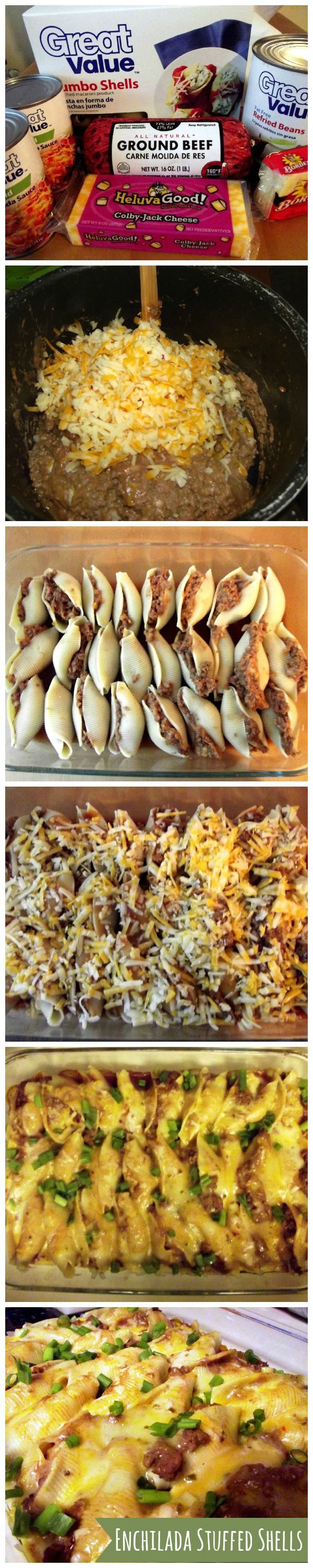 Enchilada Stuffed shells. Makes a LOT! Could halve the recipe for dinner. We used ground turkey and want to use beef next time