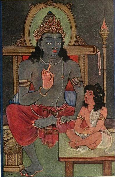 Lord Krishna instructing Arjuna. The Bhaghavad Gita is a 700-verse Hindu scripture in Sanskrit that is part of the Hindu epic Mahabharata. Illustration by Surendra Nath Kar, 1914