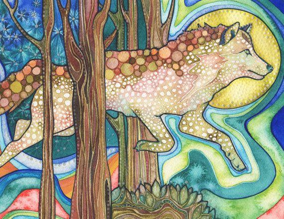 Wolf Luminescence 8.5 x 11 print of animal art watercolor, fairytale fantasy bioluminescence, burnt orange wall art, jumps over moon