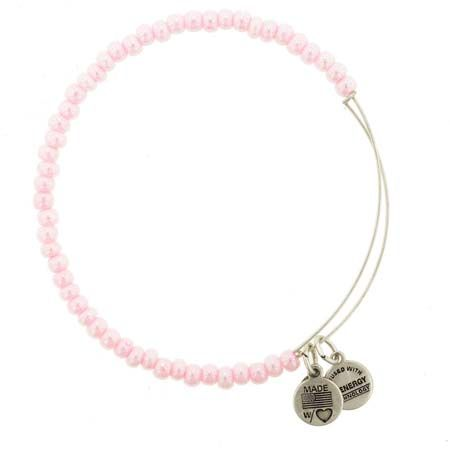 Alex And Ani Pink Beaded Expandable Wire Bangle Russian Silver