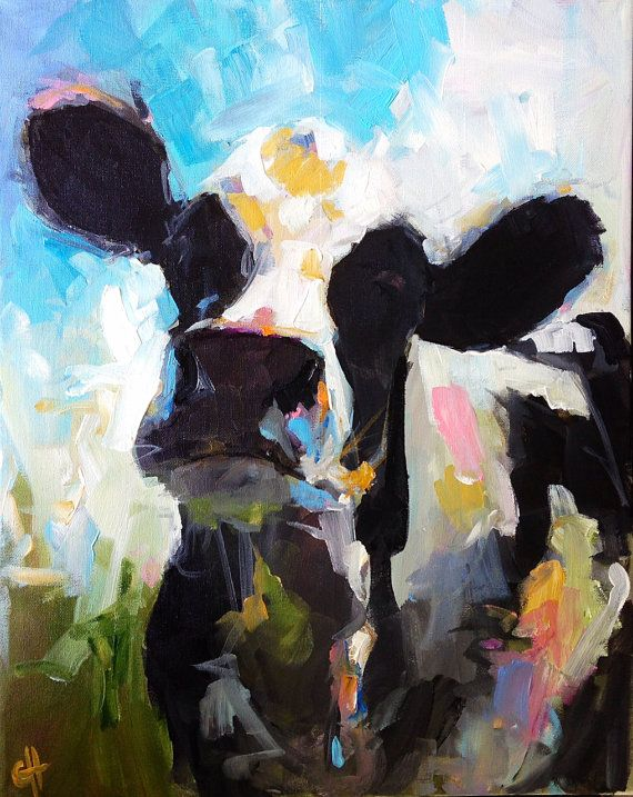 Cow Painting  Daisy  16x20 Original Painting by CariHumphryArt