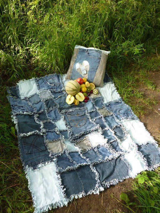 Picnic blanket made from old jeans