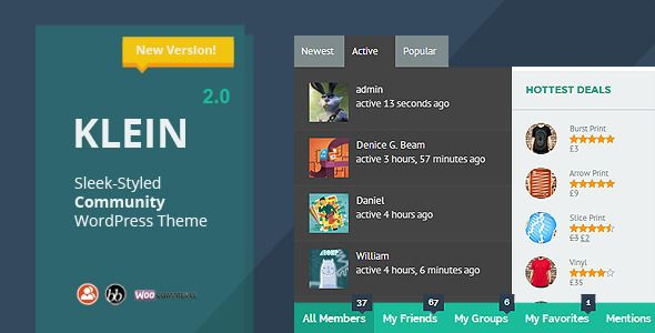 Klein is an innovative WordPress theme built to support Buddy Press, bbPress, and WooCommerce out of the box. Perfect for a website that interacts with a lot of users. Now your members can create profiles, send messages, add connections, or share what's happening in their life.