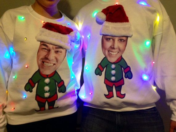 YOUR Face Light Up Ugly CHRISTMAS SWEATER!!!  Put your own face, friend, or pet on an elf body!!  This sweater will win all parties!!!