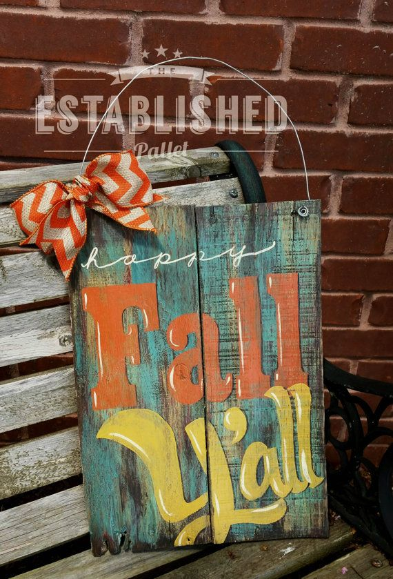 happy fall yall distressed pallet wood by theestablishedpallet on etsy - Etsy Halloween Decorations