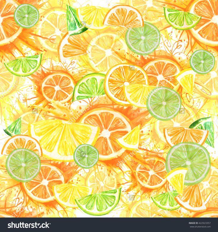 Watercolor Painting, Vintage Seamless Pattern - Tropical Fruits, Citrus, Slices Of Lemon, Orange, Lime, Grapefruit. Стоковые фотографии 422923357 : Shutterstock