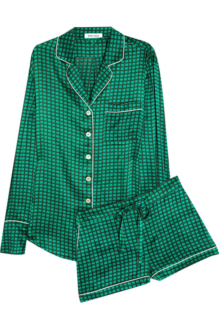 Catch your beauty sleep in style with Olivia Von Halle's emerald satin pyjama set. It's loungewear at its most luxurious and perfect for those who love a lie-in.