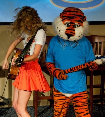 Aubie rocking out with Taylor Swift at the Hotel at Auburn University and Dixon Conference Center