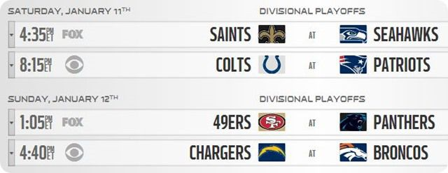 GAMEDAY RESOURCES - 2013-2014 NFL Divisional Round - NFL Playoffs Schedule 2013 2014 - 2013 2014 NFL Playoffs schedule