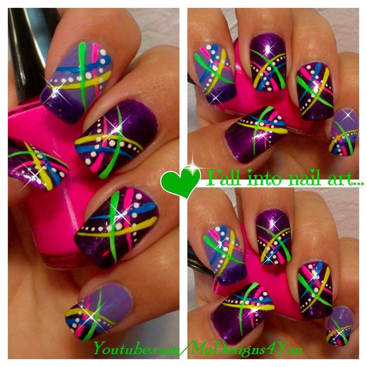 FUN SUMMER NAIL ART FOR BEGINNERS - ABSTRACT NEON by MyDesigns4You https://www.youtube.com/watch?v=6U78YlFfeA4