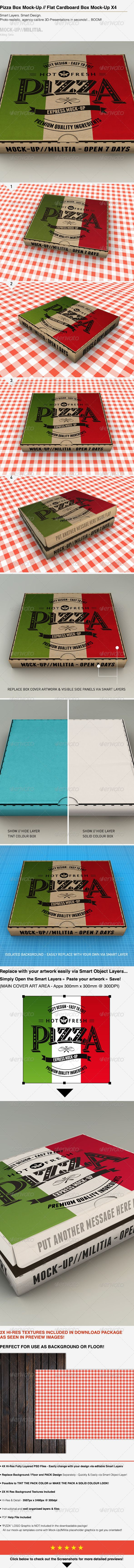 Pizza Box Mock-Up | Plain Cardboard Box Mockup - Miscellaneous Packaging