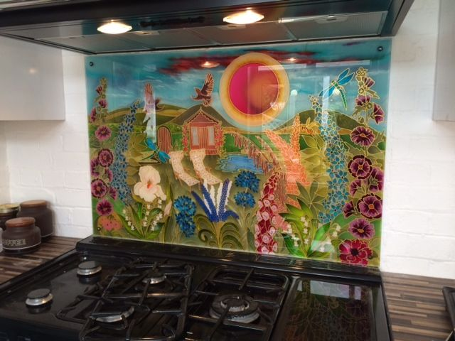 Kaz wanted to have her garden and all favorite flowers in the kitchen all year round. Even her vintage deck chairs are out in her garden scene For your special Range Cooker splash back contact me at debsinledury@live.co.uk.