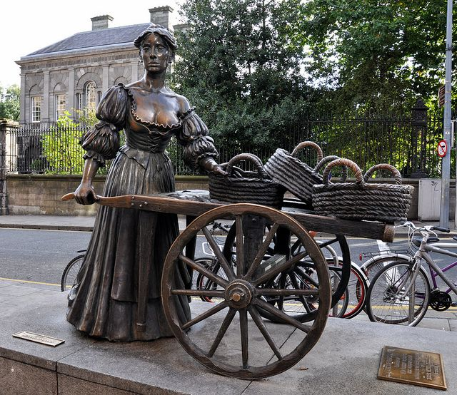 Molly Malone statue, Grafton Street, Dublin. She didn't die of a fever, she died of a chest cold! Did the artist get paid for this?