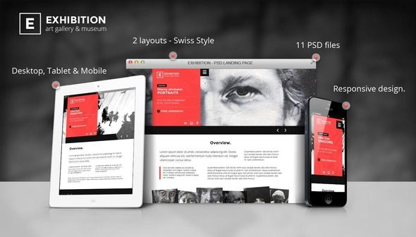 Exhibition - Art Gallery/ Museum PSD Landing page (Creative)