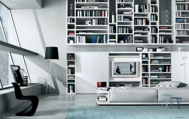 MisuraEmme Futuristic Furnitures for Modern Living Room Designs Retro Modern Living Room Design with Bookshelves Sliding Door TV Cabinet by MisuraEmme – Home Designs and Pictures