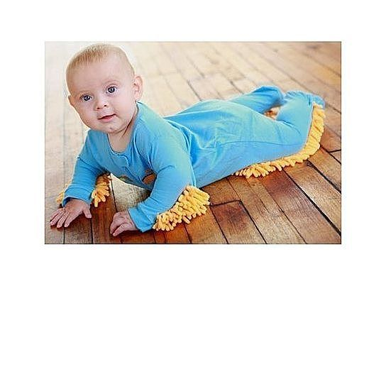 OMG - Hilarious - a Baby Mop!!  Top 5 reasons you NEED a baby mop: 1. Teach your baby a strong work ethic early on in their life. Your baby will learn not to drop and waste food. 2.  Baby will get a nice workout, burn off energy, and do muscle toning. And sleep better too! 3.  Not having to clean your floors saves you time so you can spend it doing things you enjoy. 5.  Save lots of money on house cleaning costs.