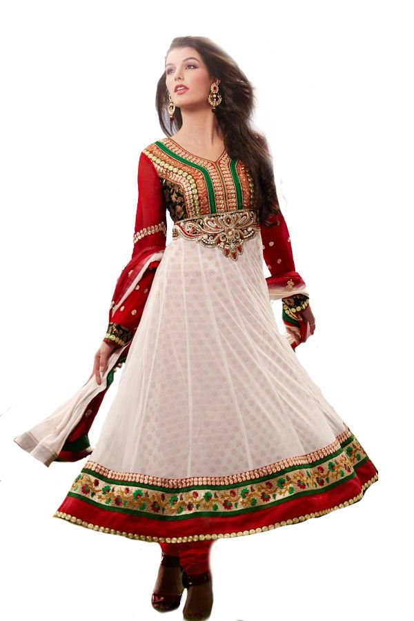 Shop Now - http://valehri.com/salwar-kameez/929-obssesive-off-white-soft-net-top-with-chiffon-dupatta.html