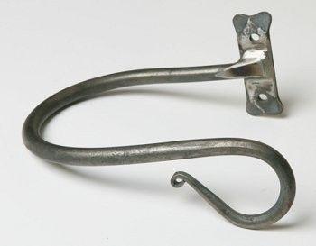 handforged wrought iron shepherd's crook holdback