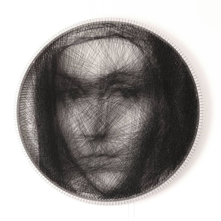 Buy Prints of Knit #2 - Limited Edition 2 of 2 - SOLD, a Algorithmic Art on Aluminium by Petros Vrellis from Greece. It portrays: Portrait, relevant to: transparent, circular, fuzzy, knitting, loom Presentation video https://vimeo.com/175653201   Circular loom The loom is an 28'' aluminum bicycle rim, with 200 anchor pegs on its circumference.    Knitting pattern In contrast to conventional knitting, absolutely no knitting is done inside the area of the loom. Instead, the threa...