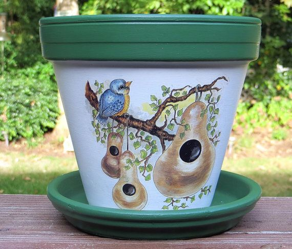 Bluebird and Gourds Painted Flower Pot by EllensClayCreations, $20.00