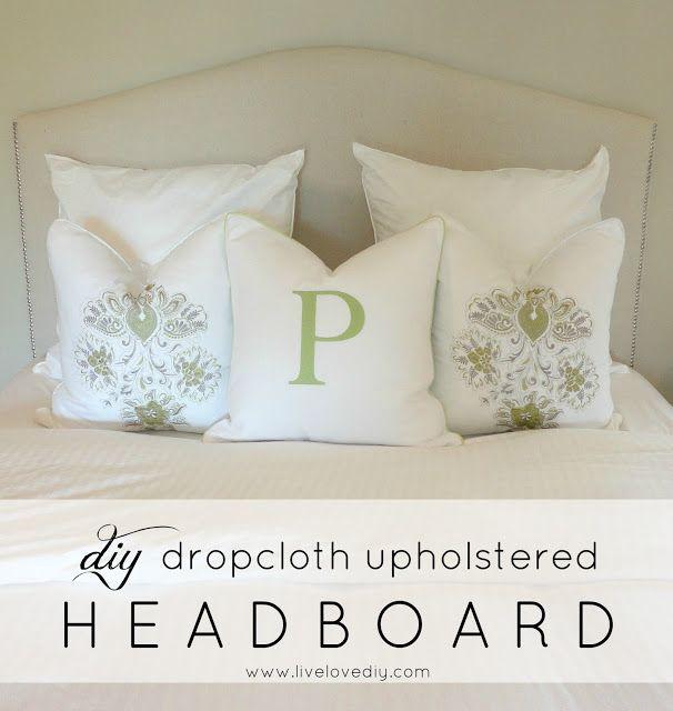 DIY dropcloth upholstered headboard   LiveLoveDIY
