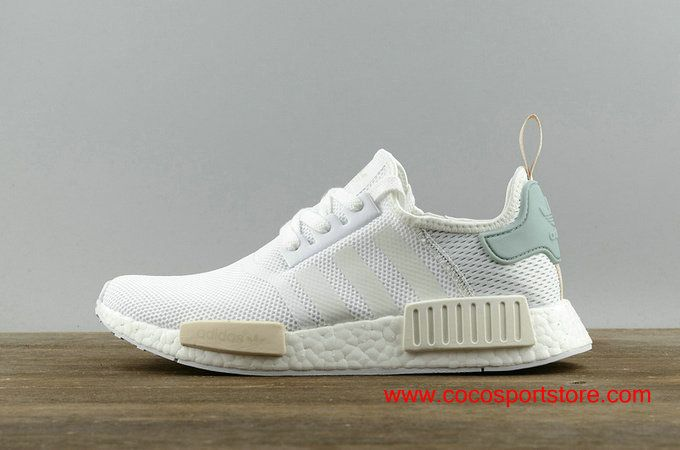 Women's Adidas NMD_R1 BY3033 White Jade-green Originals Shoes